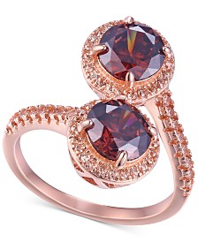 Cubic Zirconia Two-Stone Bypass Statement Ring in 14k Rose Gold-Plated Sterling Silver