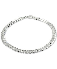 Giani Bernini Curb Link Ankle Bracelet in Sterling Silver, Created for Macy's