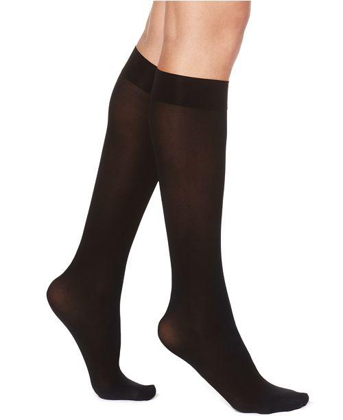 ec8ad6277d4 Hue Women s Flat Knit Knee Socks   Reviews - Handbags   Accessories ...