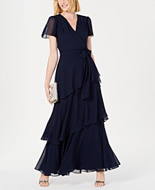 Tiered Chiffon Maxi Gown