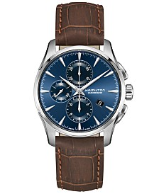 Hamilton Men's Swiss Automatic Chronograph Jazzmaster Brown Leather Strap Watch 42mm