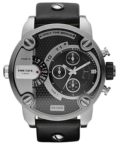 Diesel Watch, Chronograph Black Leather Strap 51mm DZ7256
