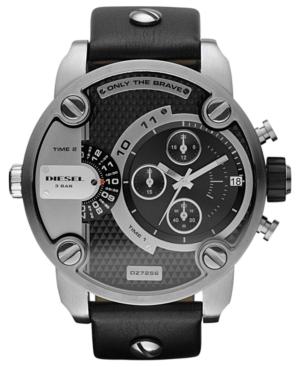 Diesel Watch, Chronograph Black Leather Strap 51mm DZ7256