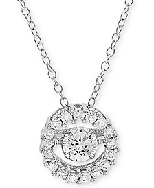 "Cubic Zirconia Halo 18"" Pendant Necklace in Sterling Silver, Created for Macy's"