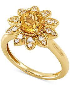Citrine (1-1/4 ct. t.w.) & White Sapphire Accent Flower Ring in 10k Gold