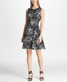 DKNY Floral Print Fit & Flare Dress