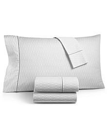 CLOSEOUT! Textured Lattice Cotton 525-Thread Count 4-Pc. King Sheet Set, Created for Macy's
