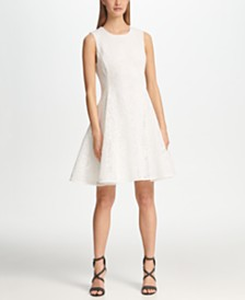 DKNY Textured Mesh Fit & Flare Dress