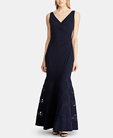 Lauren Ralph Lauren Lace-Trim Ruched Gown