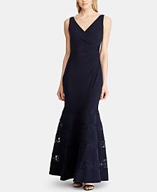 Lauren Ralph Lauren Lace-Trim Ruched Gown