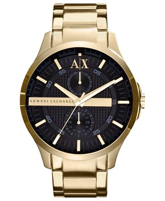 A|X Armani Exchange Watch, Men's Yellow Gold Ion Plated Stainless Steel Bracelet 46mm AX2122
