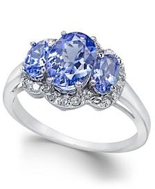 Tanzanite (1-9/10 ct. t.w.) & Diamond (1/4 ct. t.w.) Ring in 14k White Gold