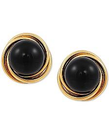 Onyx (6mm) Stud Earrings in 10k Gold