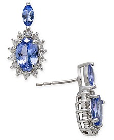 Tanzanite (1 ct. t.w.) & Diamond (1/5 ct. t.w.) Drop Earrings in 14k White Gold