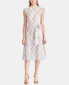 Lauren Ralph Lauren Petite Belted Georgette Dress
