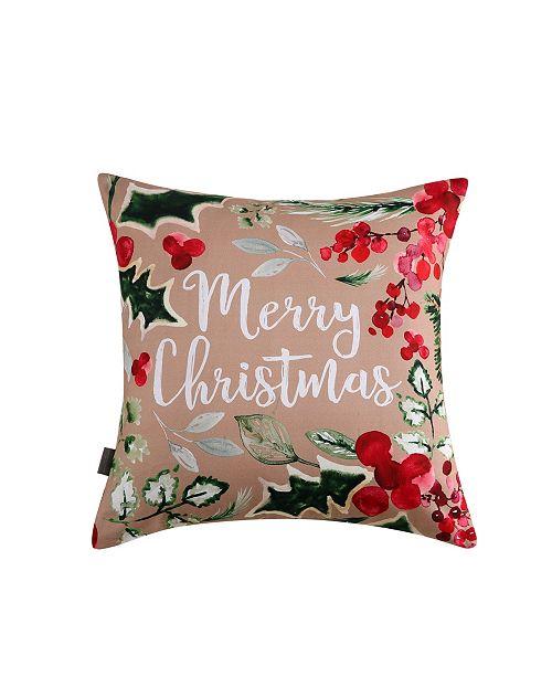 Sara B. Merry Christmas Square Decorative Pillow