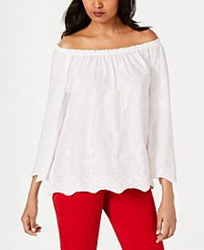 Convertible Embroidered Cotton Top, Created for Macy's