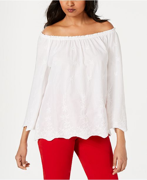 Charter Club Convertible Embroidered Cotton Top, Created for Macy's