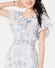 American Rag Juniors' Printed Flutter-Sleeved Crop Top, Created for Macy's