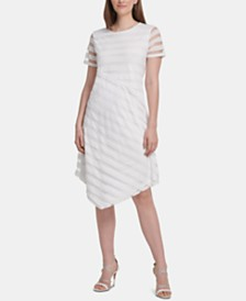 DKNY Striped Asymmetrical-Hem Dress