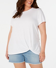 Style & Co Plus Size Knot-Hem T-Shirt, Created for Macy's