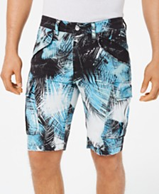 GUESS Men's Island Breeze Stretch Palm-Print Cargo Shorts