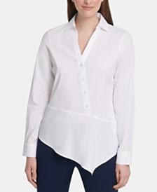 DKNY Asymmetrical-Hem Collared Shirt