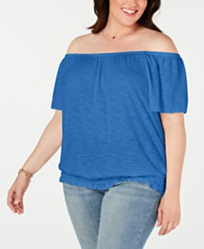 Style & Co Plus Size Off-The-Shoulder Top, Created for Macy's