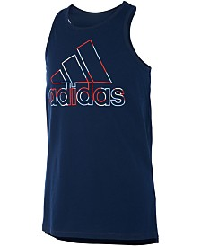 adidas Big Girls Red, White & Blue Logo Tank Top