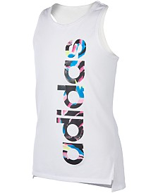 adidas Little Girls Shaped Hem Logo Tank Top