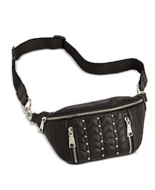 Studded Quilted Faux Leather Belt Bag