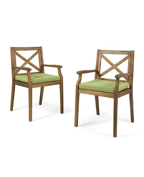 Noble House Perla Outdoor Dining Chair, Set of 2