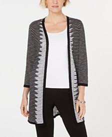 Kasper Striped Open-Front Cardigan