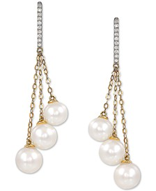 Cultured Freshwater Pearl (6-7-1/2mm) & Diamond (1/10 ct. t.w.) Drop Earrings in 14k Gold