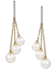 Cultured Freshwater Pearl (6-7-1/2mm) & Diamond (1/10 ct. t.w.) Drop Earrings in 14k Gold