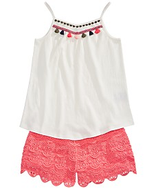 Epic Threads Big Girls Tassel Tank Top & Scalloped Shorts Separates, Created for Macy's