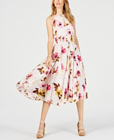 I.N.C. Cotton Floral-Print Fit & Flare Dress, Created for Macy's