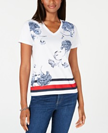 Tommy Hilfiger Striped Printed T-Shirt, Created for Macy's