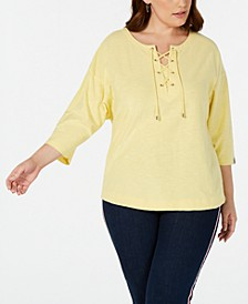 Plus Size Cotton Lace-Up Top