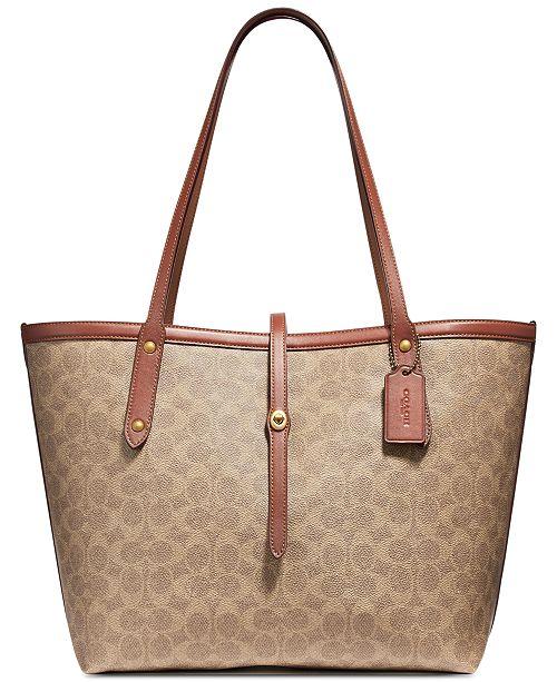 0993e415b7 COACH Coated Canvas Signature Market Tote & Reviews - Handbags ...