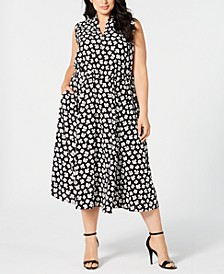 Plus Size Sleeveless Printed Midi Dress