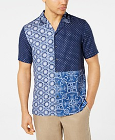 Men's Patchwork Medallion-Print Camp Collar Silk Shirt, Created for Macy's