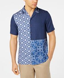Tasso Elba Men's Patchwork Medallion-Print Camp Collar Silk Shirt, Created for Macy's