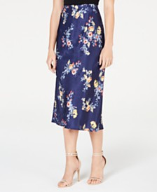 Material Girl Juniors' Printed Textured Midi Skirt, Created for Macy's