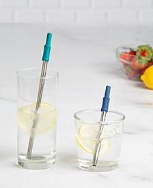 Collapsible Stainless Steel Metal Straw Set, Created for Macy's