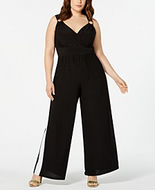 Trendy Plus Size Side-Stripe Jumpsuit