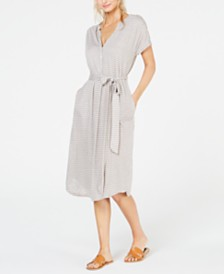 Lucky Brand Striped Belted Henley Dress