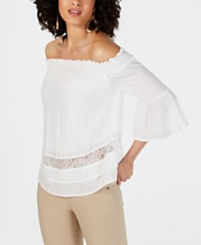 Thalia Sodi Lace-Tiered Peasant Top, Created for Macy's