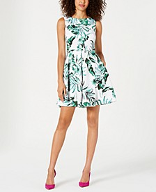 Leaf-Print Fit & Flare Dress