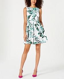 Leaf-Print Fit & Flare Dress